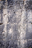 Detail of stone carvings in archeological site Chichen Itza Royalty Free Stock Images