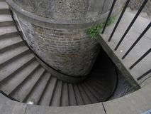 Detail of stone spiral staircase royalty free stock photo