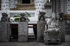 Detail of Stone statue for Thai-Chinese style  and thai art architecture in Wat Arun buddhist temple in Bangkok, Thailand. Stock Images