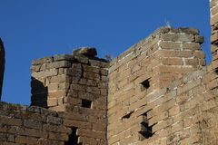 Detail of stone tower of the Great Wall of China Royalty Free Stock Image