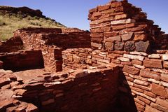 Detail, stone wall of ancient pueblo house, Royalty Free Stock Photos