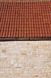 Detail of a Stone Wall and Roof Tiles. Abstract Architectural Detail of a Stone Wall and Roof Tiles Royalty Free Stock Image