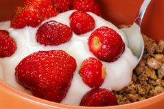 Detail of strawberries with cereals Royalty Free Stock Photo