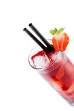 Detail of strawberry cocktail with ice isolated with strawberry on top Royalty Free Stock Photography