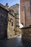 Detail of the street of the cathedral of Cuenca Stock Images