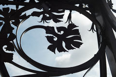 Detail of street lamp iron ornaments in Barcelona, imitating org. Anic elements such as leafs Stock Photo
