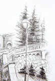 Detail of a street lamp in old town, pencil drawing. Stock Images