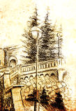 Detail of a street lamp in old town, pencil drawing, color effect on abstract background. Detail of a street lamp in old town, pencil drawing, color effect on royalty free illustration