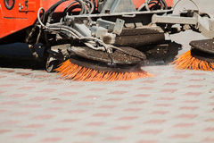 Detail of a street sweeper machine/car.  Stock Photo