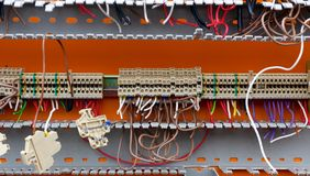 Detail of Stripped Electric Switchboard Royalty Free Stock Photography