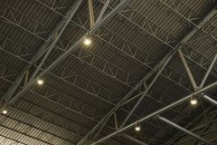 Detail of the structure of a warehouse roof with lamp Royalty Free Stock Photography