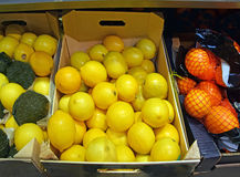 The detail from the supermarket inside with exposed lemon, citrus Royalty Free Stock Photos