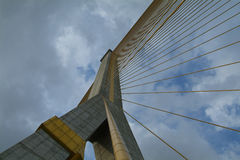 Detail of suspension bridge. The Rama 8 bridge crossing the Chao Praya river in Bangkok, Thailand Stock Images