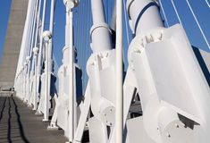 Detail of suspension bridge and walkway Stock Photos