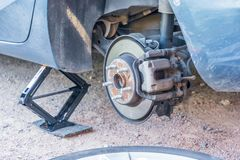 Suspension of a car without tires royalty free stock photography