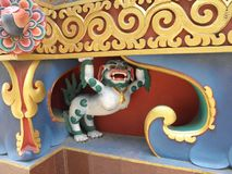 Detail of Swayambhunath Stupa in Kathmandu, Nepal. This is a mythological creature included in the detail of  Swayambhunath Stupa in Kathmandu, Nepal Stock Photography