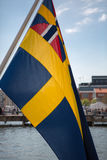 Detail of Swedish flag in the seaport of Goteborg Stock Image