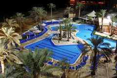 Detail of Swimming pool in Spa resort at Dead sea Stock Photos