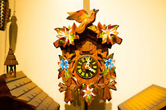 The detail of swiss wooden clock Royalty Free Stock Image