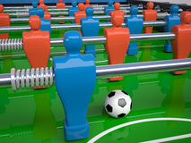 Detail of table football toy. And soccer ball, 3d illustration Stock Photo