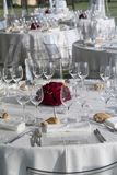 Detail of a table set for a banquet Stock Photography