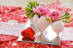 Detail of table setting in red decorated Royalty Free Stock Photos