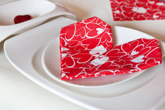 Detail of table setting in red decorated Royalty Free Stock Photography