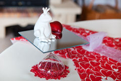 Detail of table setting in red decorated Royalty Free Stock Images