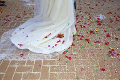Detail of the tail of the bride's dress royalty free stock image