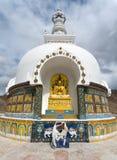 Detail of Tall Shanti Stupa near Leh Stock Image