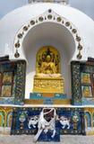 Detail of Tall Shanti Stupa near Leh Royalty Free Stock Photo