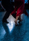 Detail of tango shoes. Detail of tango dancers in milonga ballroom Stock Photos