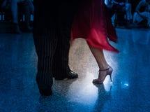 Detail of tango shoes. Detail of tango dancers in milonga ballroom Stock Image