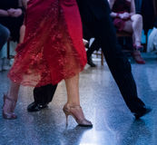 Detail of tango shoes. Detail of tango dancers in milonga ballroom Royalty Free Stock Image
