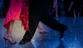 Detail of tango shoes. Detail of tango dancers in milonga ballroom Stock Photo