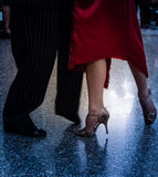 Detail of tango shoes. Detail of tango dancers in milonga ballroom Stock Photo