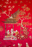 Detail from tapestry in the Chinese saloon from 19. cent. in palace Saint Anton. Royalty Free Stock Photo