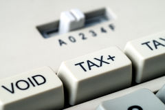 Detail of tax button of a calculator. royalty free stock image