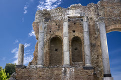 Detail of the Teatro Greco or the Greek Theatre in Taormina Royalty Free Stock Image