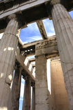Detail of temple of Hephaestus,Athens. Architectural details of Temple of Hephaestus in Greece stock photo