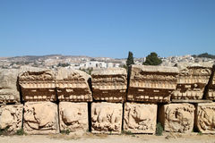 Detail of a temple in Jerash, Jordan Royalty Free Stock Photos