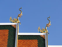 Detail of temple roof in Chiang Rai. Northern Thailand Royalty Free Stock Photo