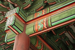 Detail of temple in seoul south korea. Detail of painted wooden temple in seoul south korea Stock Photo