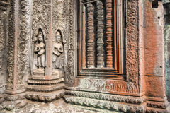 Detail of a temple wall. Decorated with ornaments in different colors Royalty Free Stock Photography