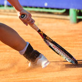 Detail of a tennis player leg Royalty Free Stock Photos