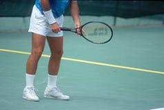 Detail of Tennis Player preparing to serve, Annual Ojai Amateur Tennis Tournament, Ojai, CA Stock Photos