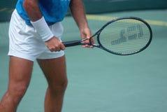 Detail of Tennis Player preparing to serve, Annual Ojai Amateur Tennis Tournament, Ojai, CA Stock Photo