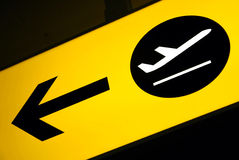 Detail of a terminal sign in an airport royalty free stock photography