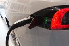 Detail of Tesla Model S car in Milan, Italy Stock Images