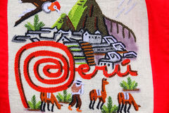 Detail of textile embroidery at the street market in Ollantaytam Royalty Free Stock Images